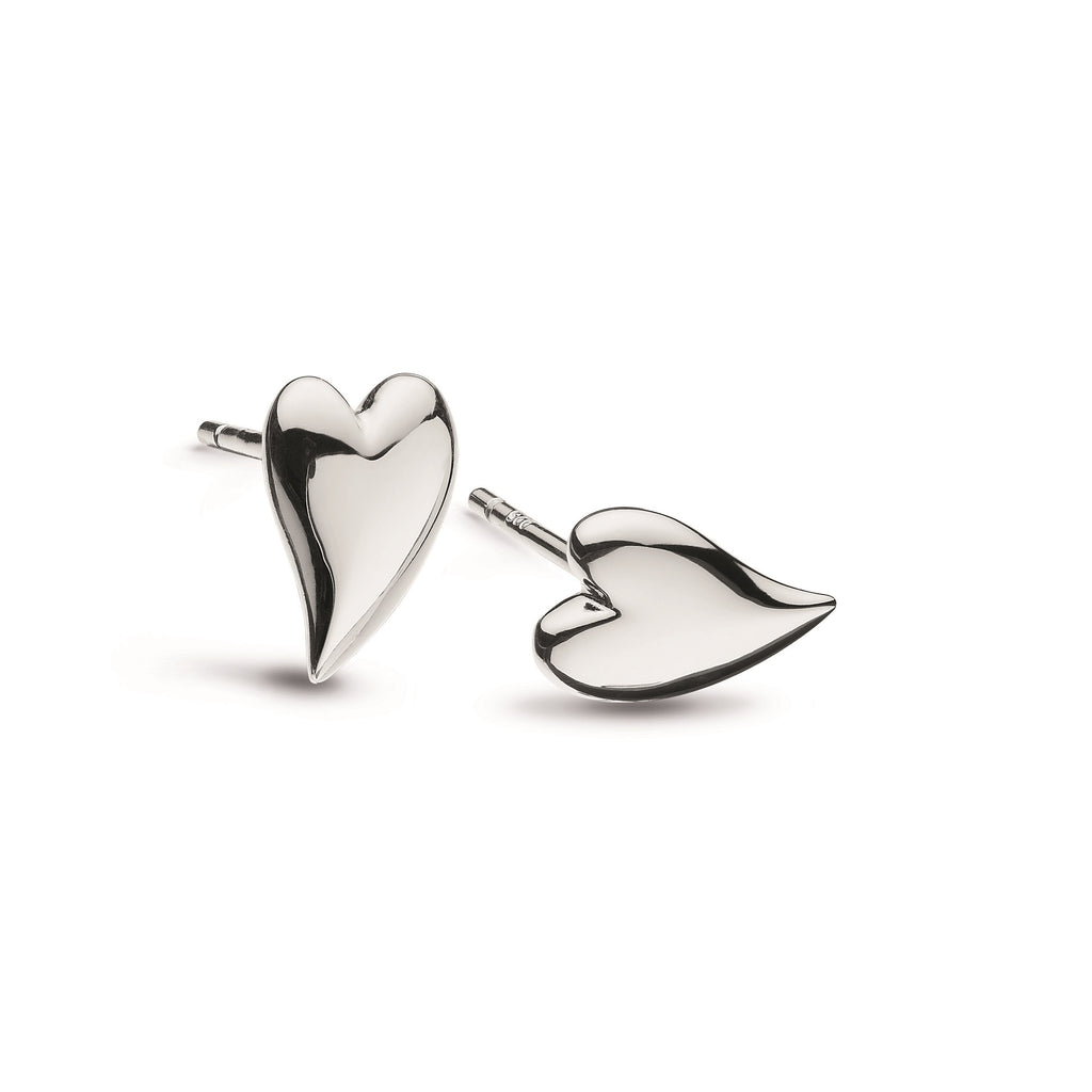 Kit Heath Silver Desire Kiss Mini Heart Stud Earrings