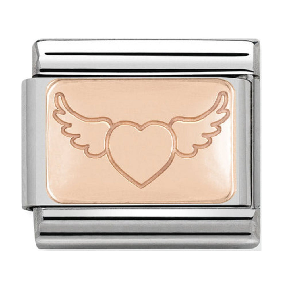 NOMINATION Charm 9ct Rose Gold Heart with Wings