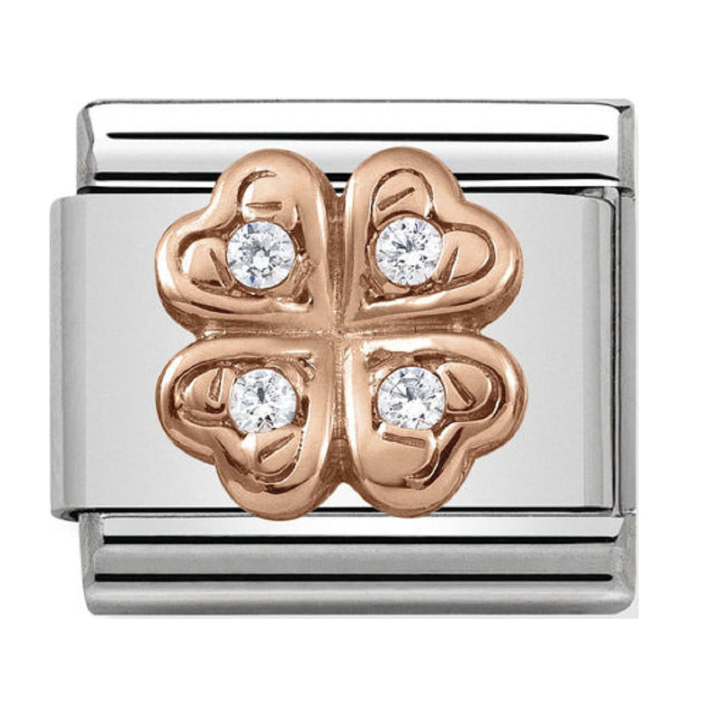 Nomination Charms Rose Gold Four Leaf Clover and CZ 430302-04