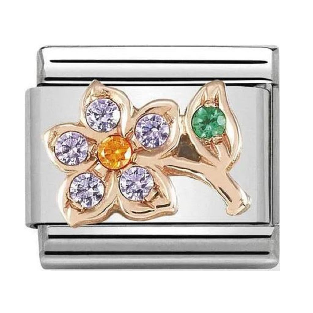 Nomination Link Rose Gold with CZ Lilac Flower with Stem