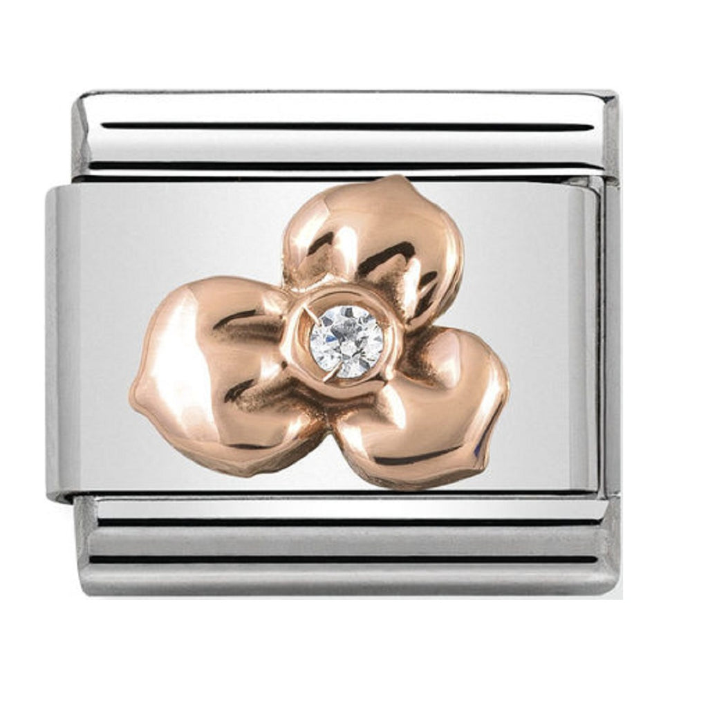 NOMINATION Charm 9ct Rose Gold with White CZ Flower