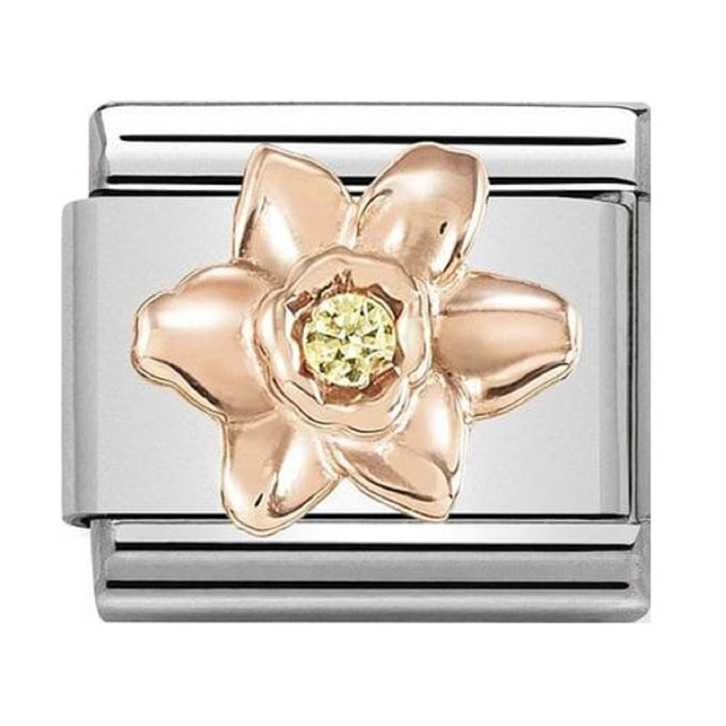 Nomination Link Rose Gold with CZ Yellow Daffodil