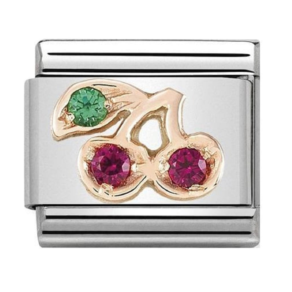 NOMINATION Charm 9ct Rose Gold with CZ Colorful Cherry