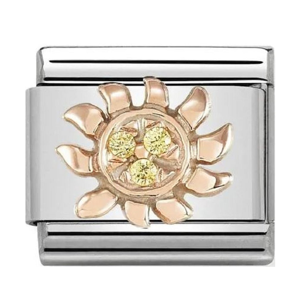 NOMINATION Charm 9ct Rose Gold with Yellow CZ Sun