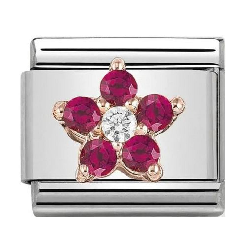 Nomination Link Rose Gold with CZ Red and White Flower