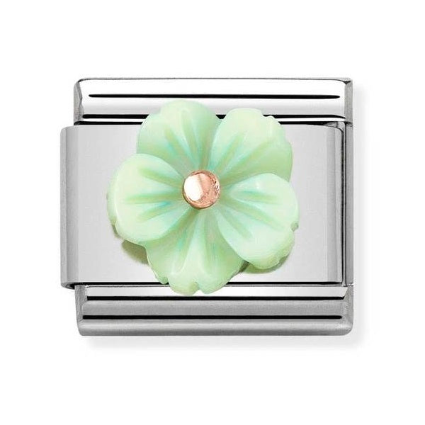 NOMINATION Charm 9ct Rose Gold and Green Mother of Pearl Flower