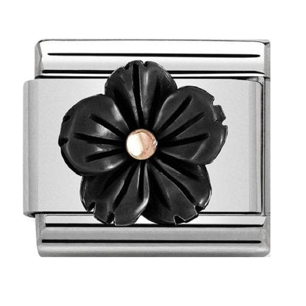 NOMINATION Charm Rose Gold and Black Onyx Flower