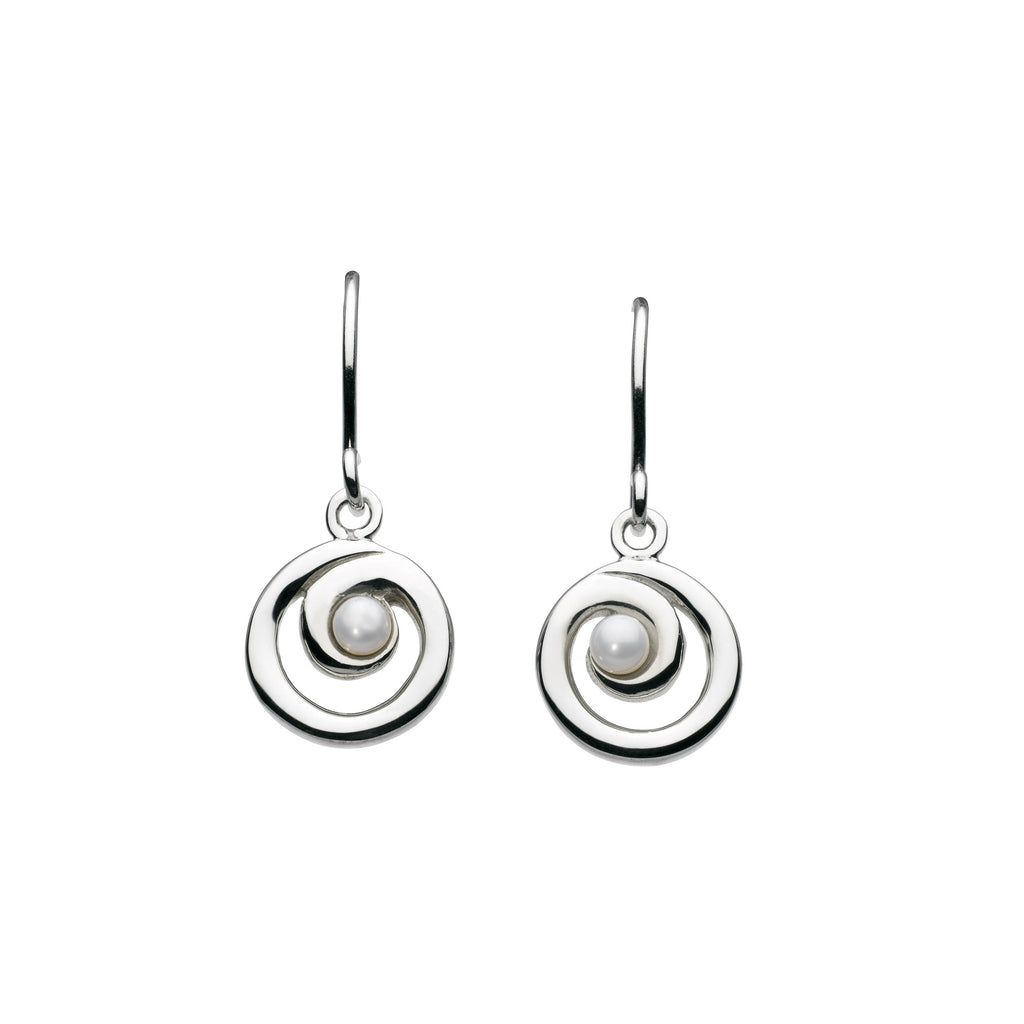 Kit Heath Silver and Freshwater Pearl Spiral Drop Earrings