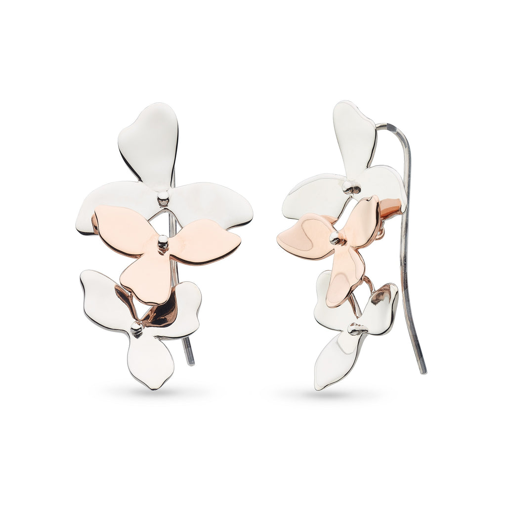 Kit Heath Silver and Rose Gold Plated Blossom Petal Bloom Trio Drop Earrings