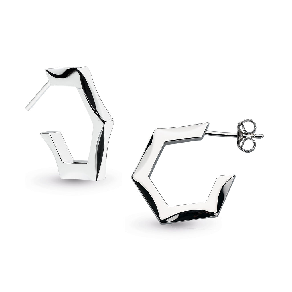 Kit Heath Silver Empire Revival Hexagonal Stud Hoop Earrings