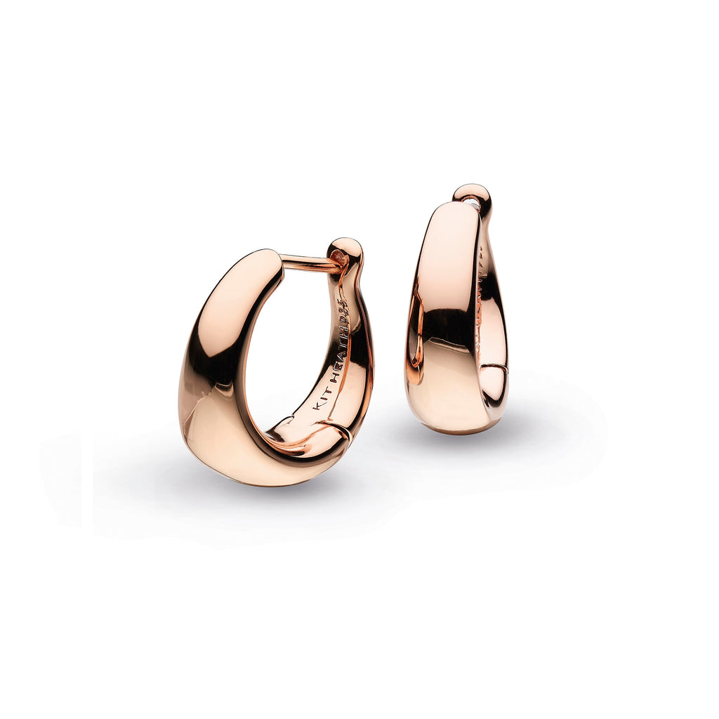Kit Heath Silver Rose Gold Plate Bevel Cirque Small Hinged Hoop Earrings