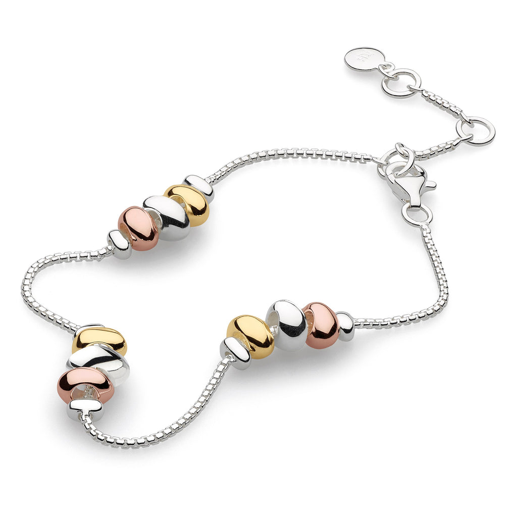 Kit Heath Silver, Gold and Rose Gold Plated Coast Tumble Trio Station Bracelet