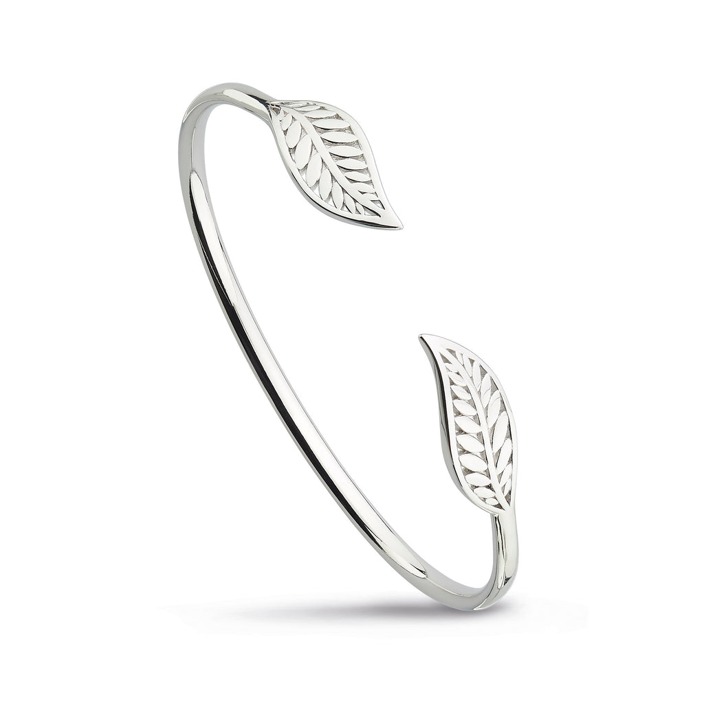 Kit Heath Silver Blossom Eden Twin Leaf Bangle