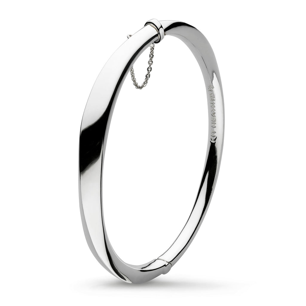 Kit Heath Silver Bevel Cirque Hinged Bangle