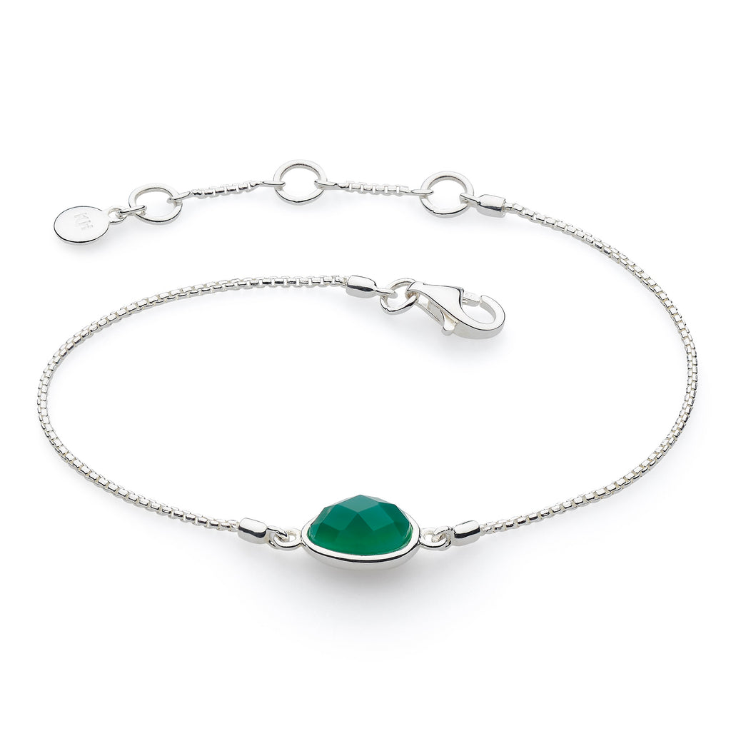 Kit Heath Silver and Green Agata Coast Pebble Bracelet