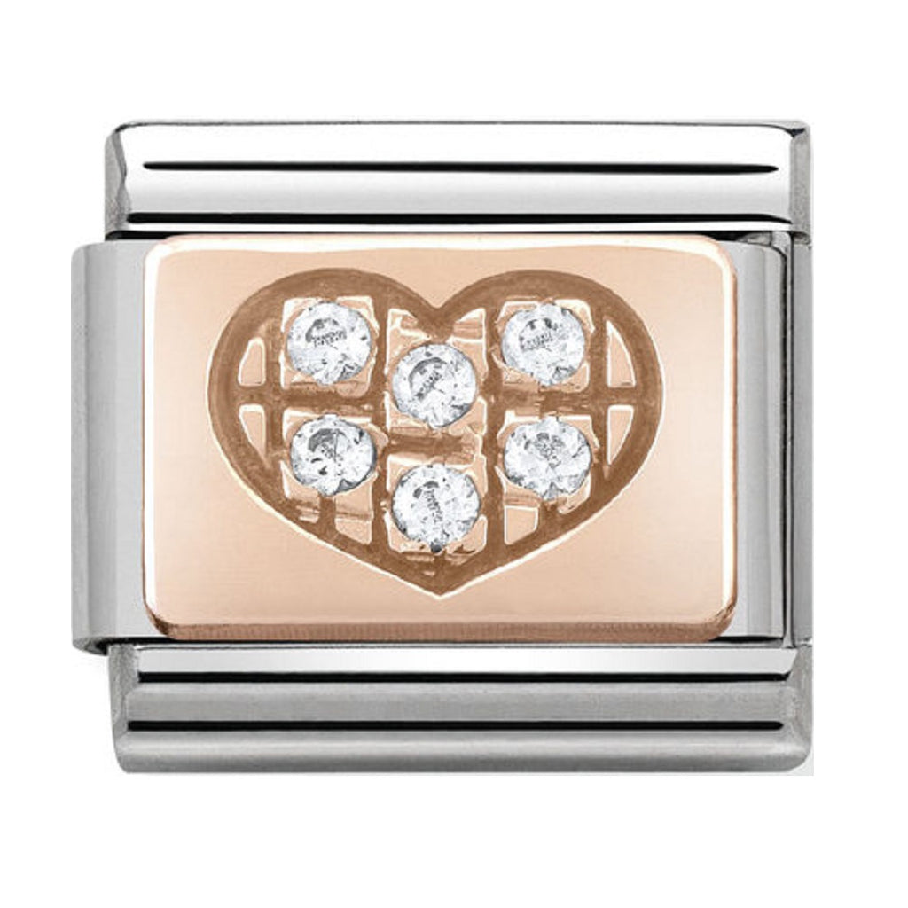 Nomination Charms Rose Gold White CZ Heart
