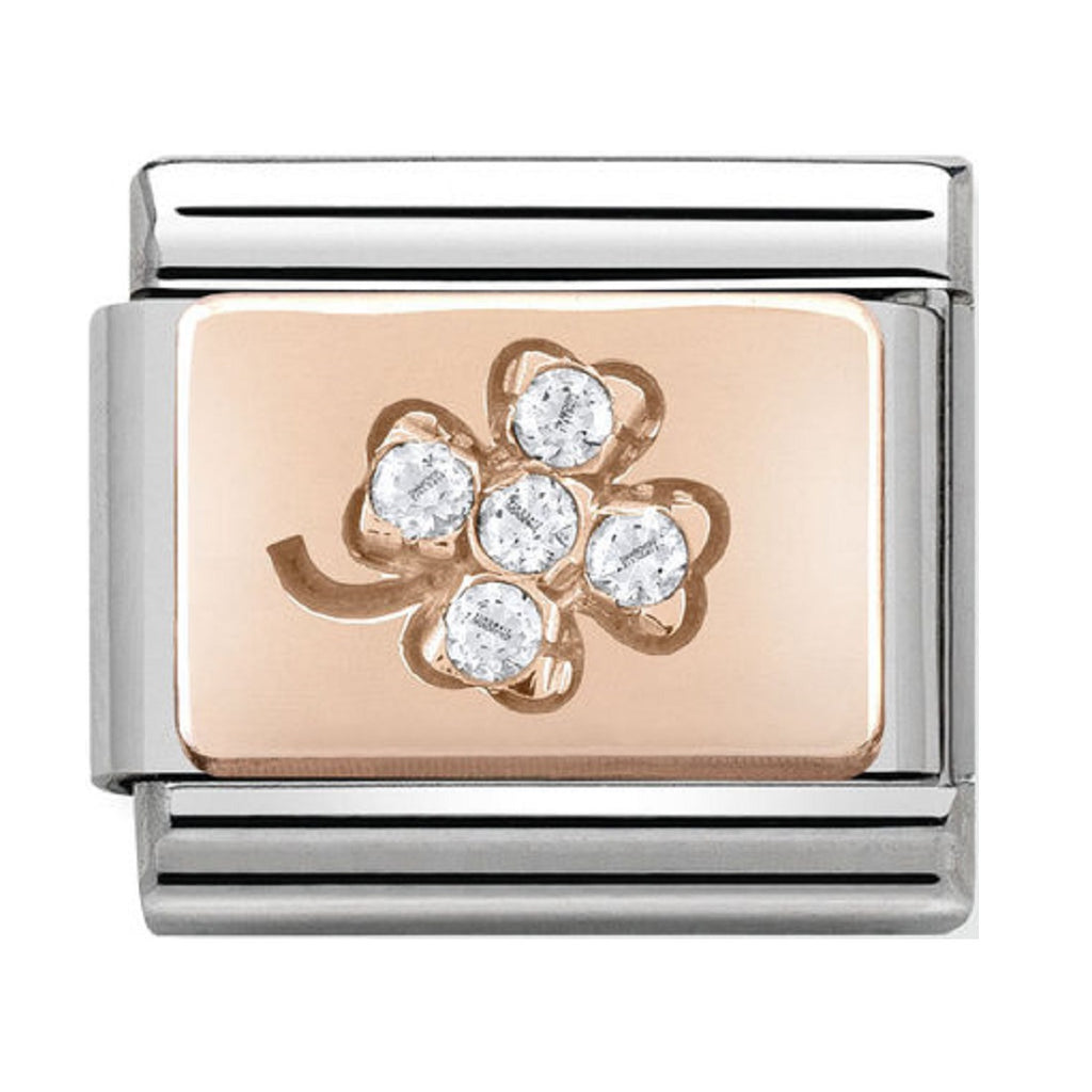 Nomination Charms Rose Gold White CZ Four Leaf Clover 430302-02