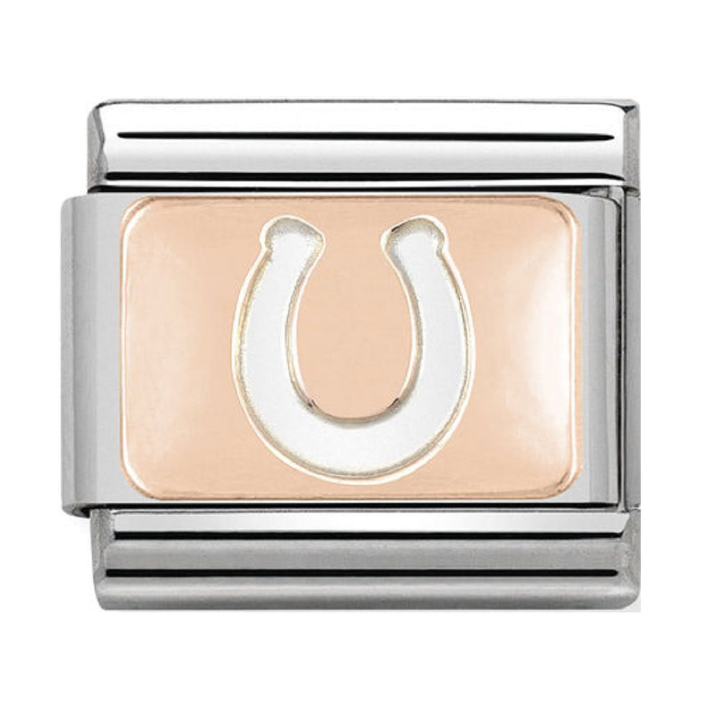 NOMINATION Charm 9ct Rose Gold plate with Horse Shoe