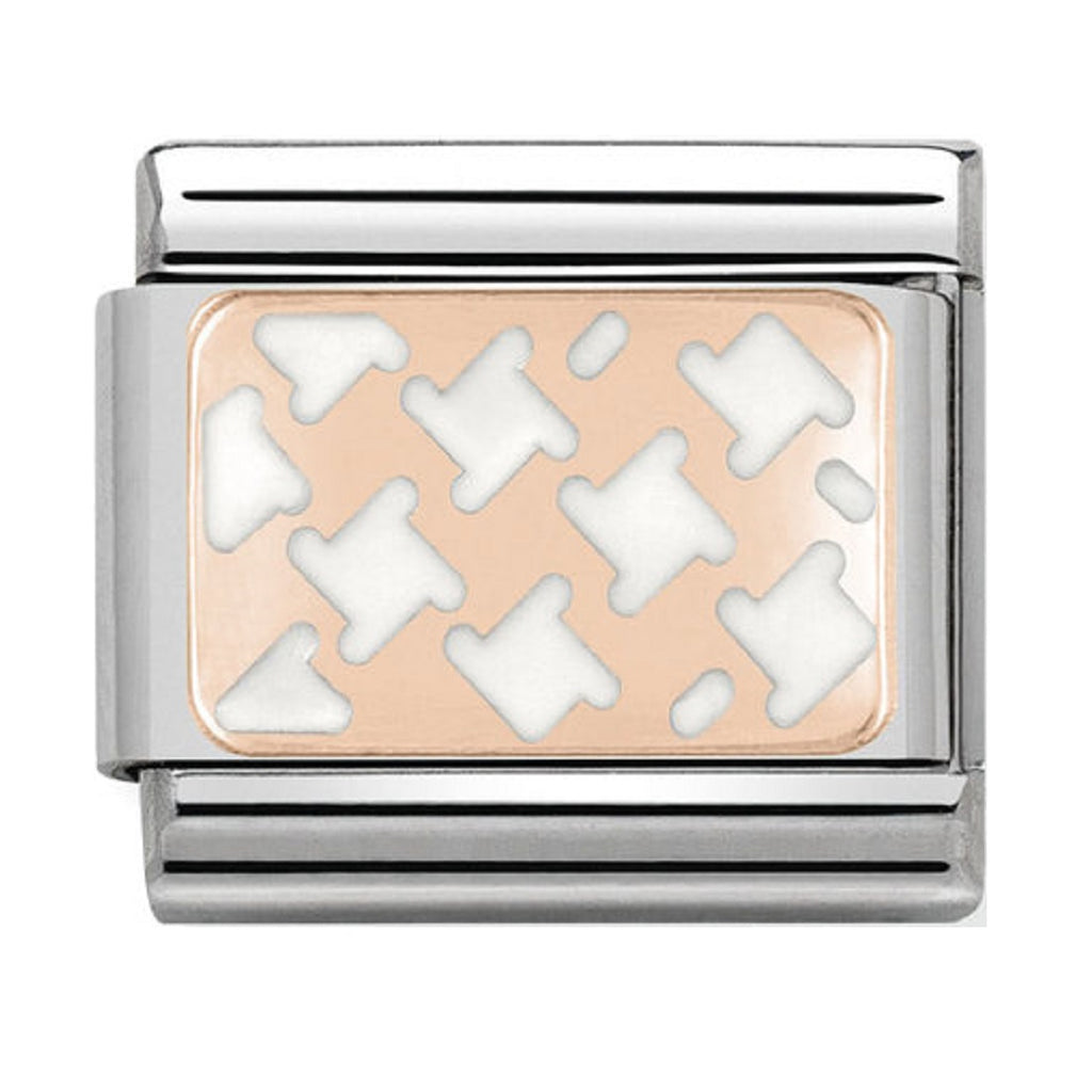 Nomination Charms Rose Gold White Houndstooth