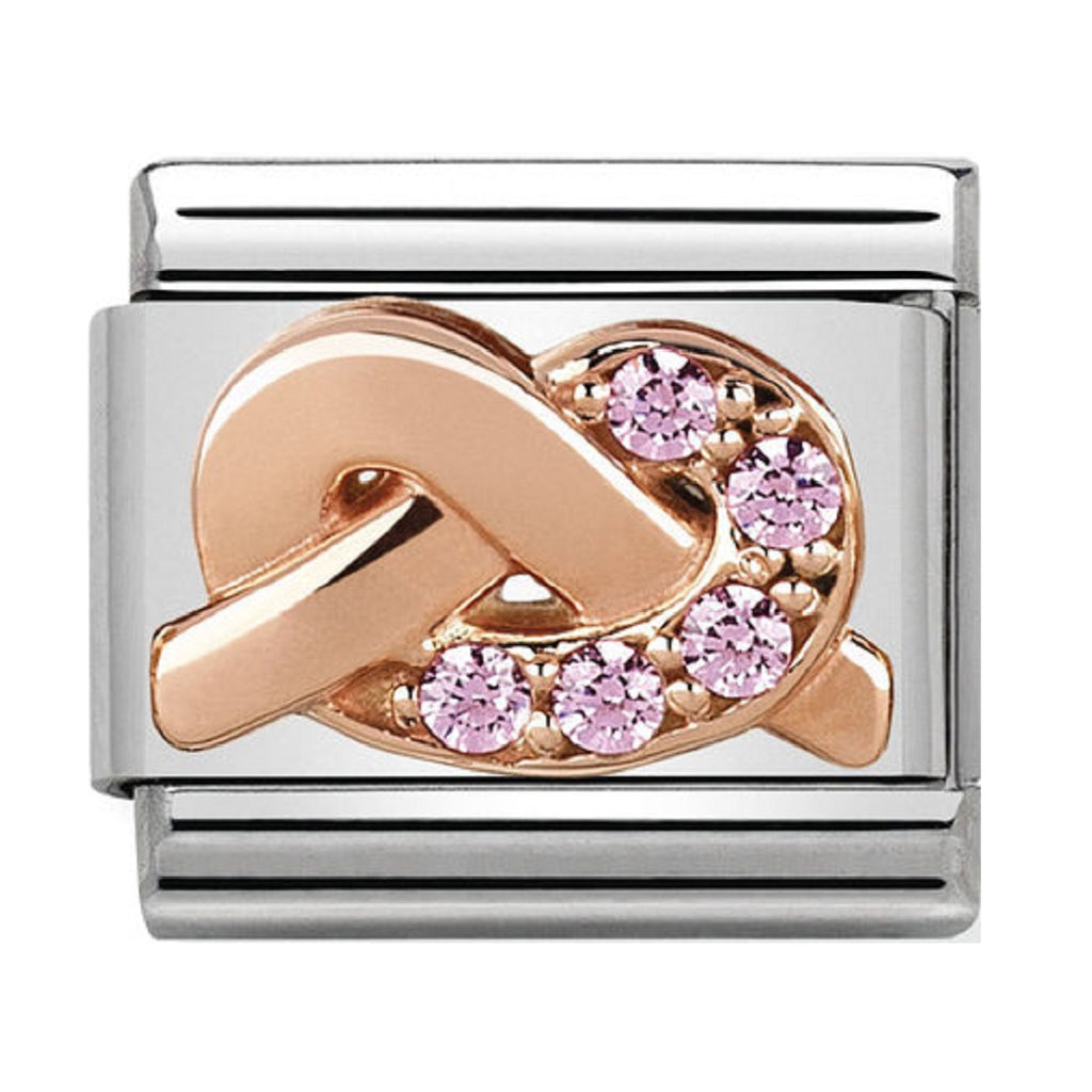 Nomination Links Rose Gold Knot Pink CZ Mother and Daughter
