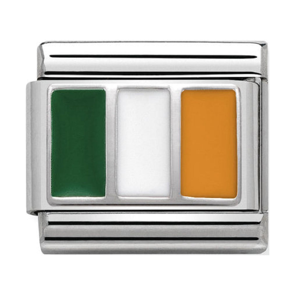 Nomination Links Silver and Enamel Ireland Flag