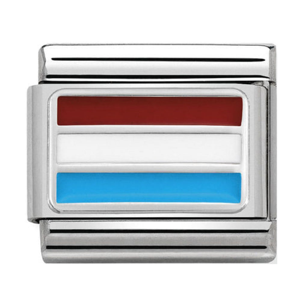 Nomination Links Silver and Enamel Luxembourg Flag
