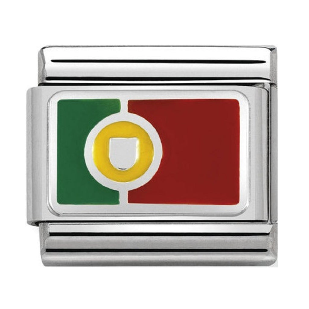 NOMINATION Charm Silver and Enamel Portugal Flag