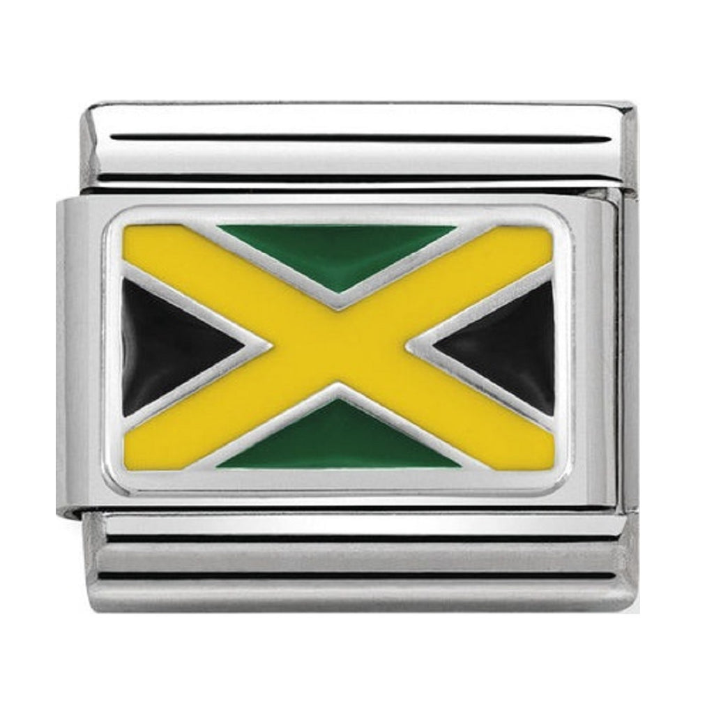 Nomination Links Silver and Enamel Jamaica Flag