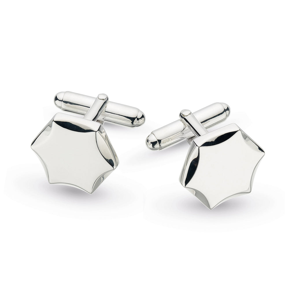 Kit Heath Silver Revival Hexagon Engraveable Cufflinks