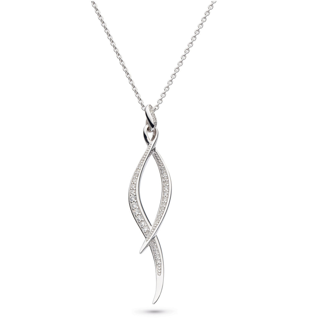 Kit Heath Silver Entwine Twine Twist Pavé CZ Necklace