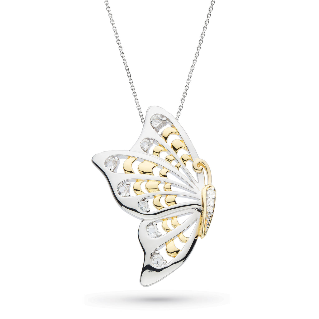 Kit Heath Blossom Flyte Butterfly White Topaz Statement Necklace