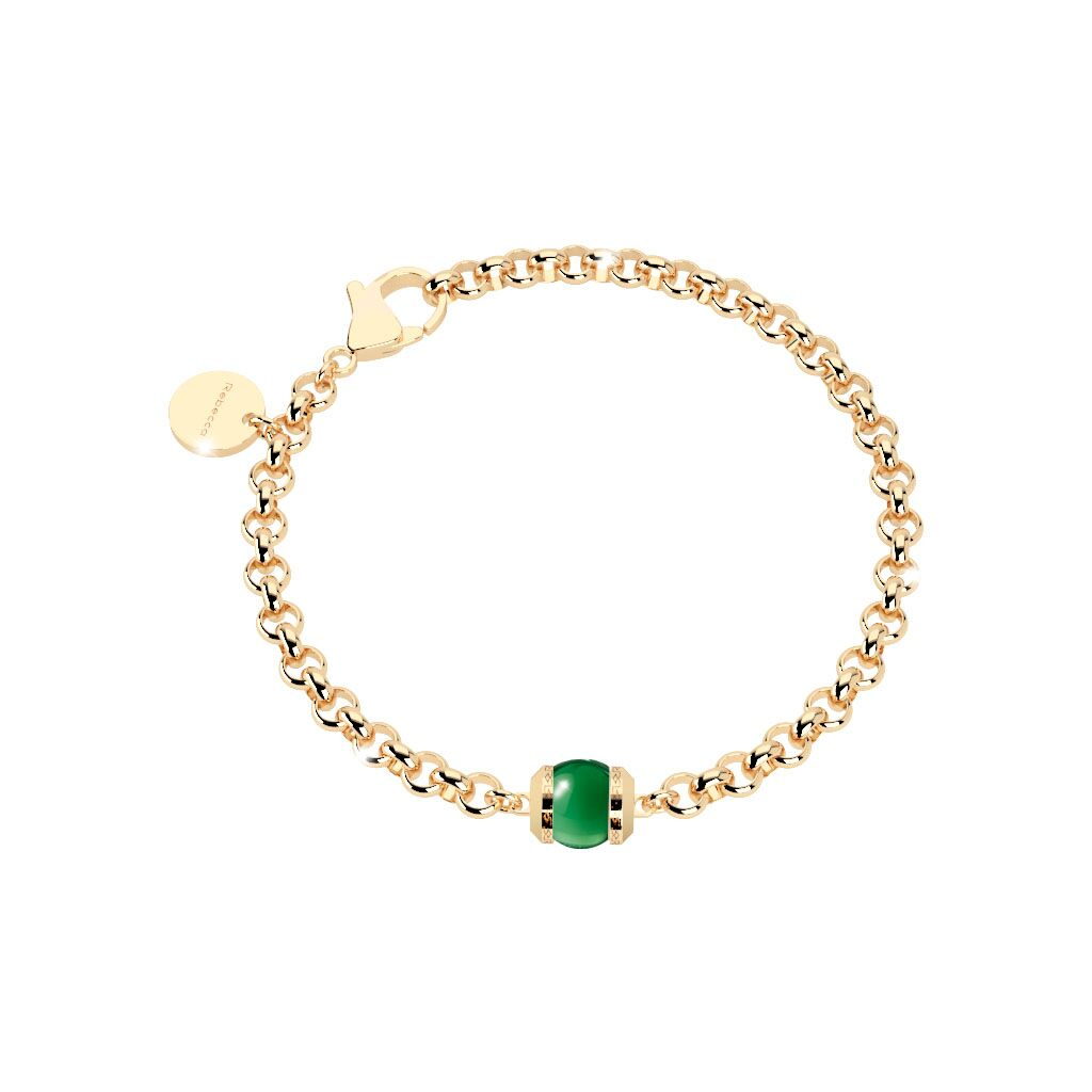 Rebecca Gold Plated Hollywood Stone Green Bracelet