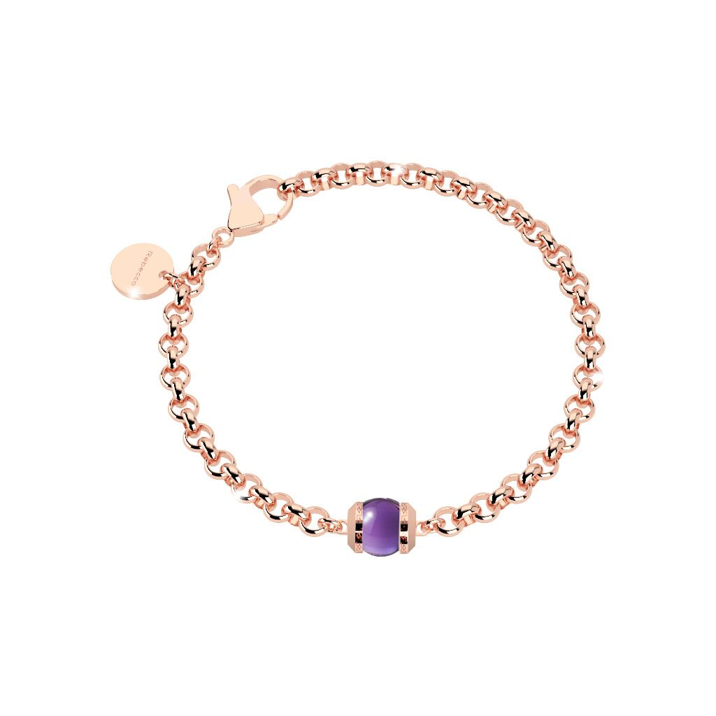Rebecca Rose Gold Plated Hollywood Stone Purple Bracelet