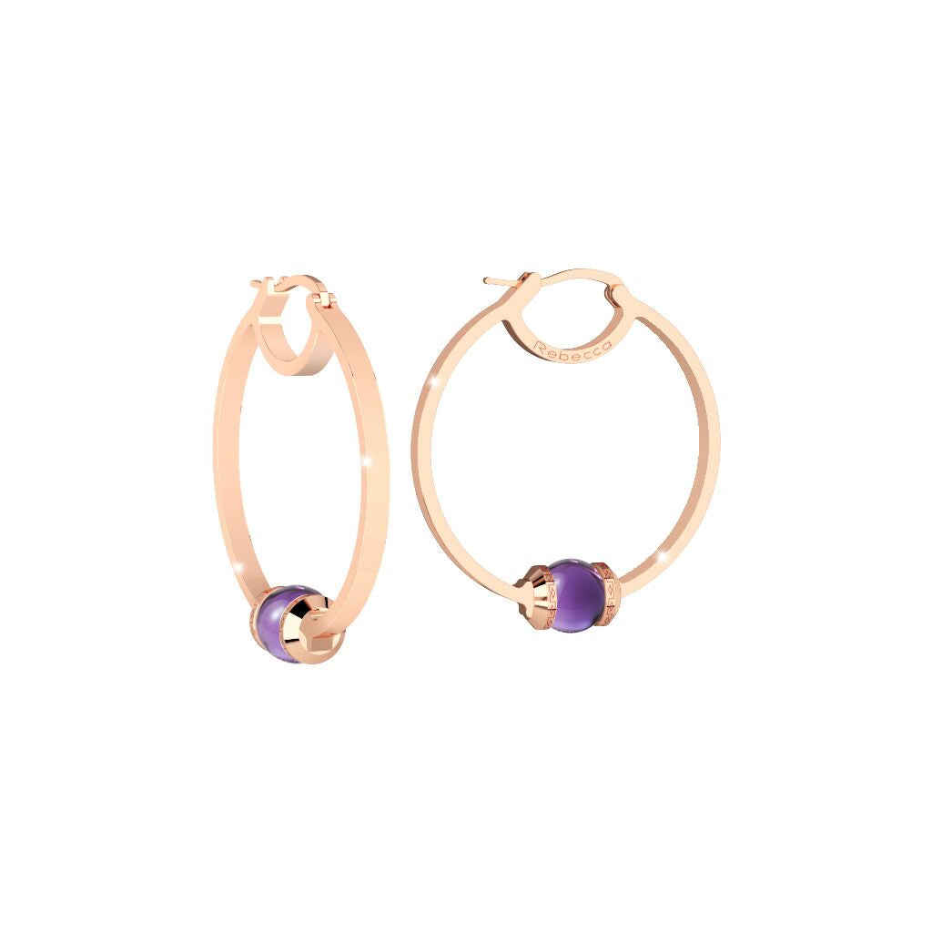 Rebecca Rose Gold Plated Hollywood Stone Purple Earrings