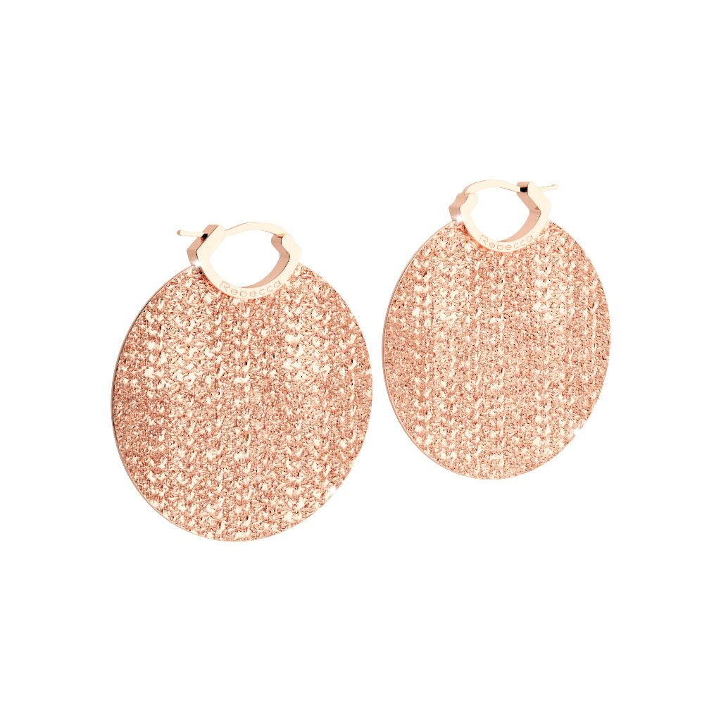Rebecca Rose Gold Plated R-Zero Circle Earrings