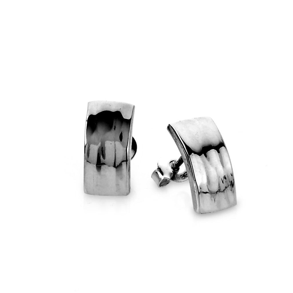 Tianguis Jackson Silver Rectangular Hammered Stud Earrings