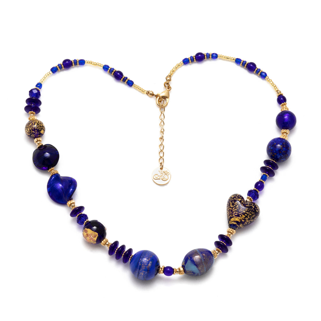 Vaccari Venezia Short Necklace Royal Blue and Gold Glass Beads