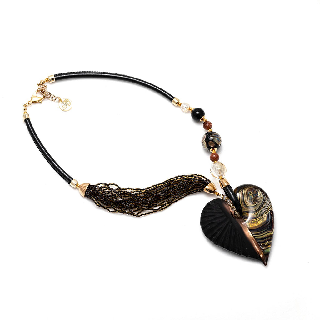 Vaccari Venezia Big Heart Necklace Black