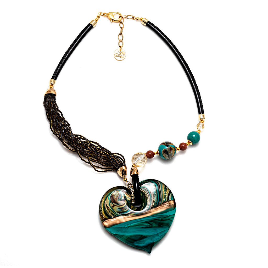Vaccari Venezia Big Heart Necklace Green