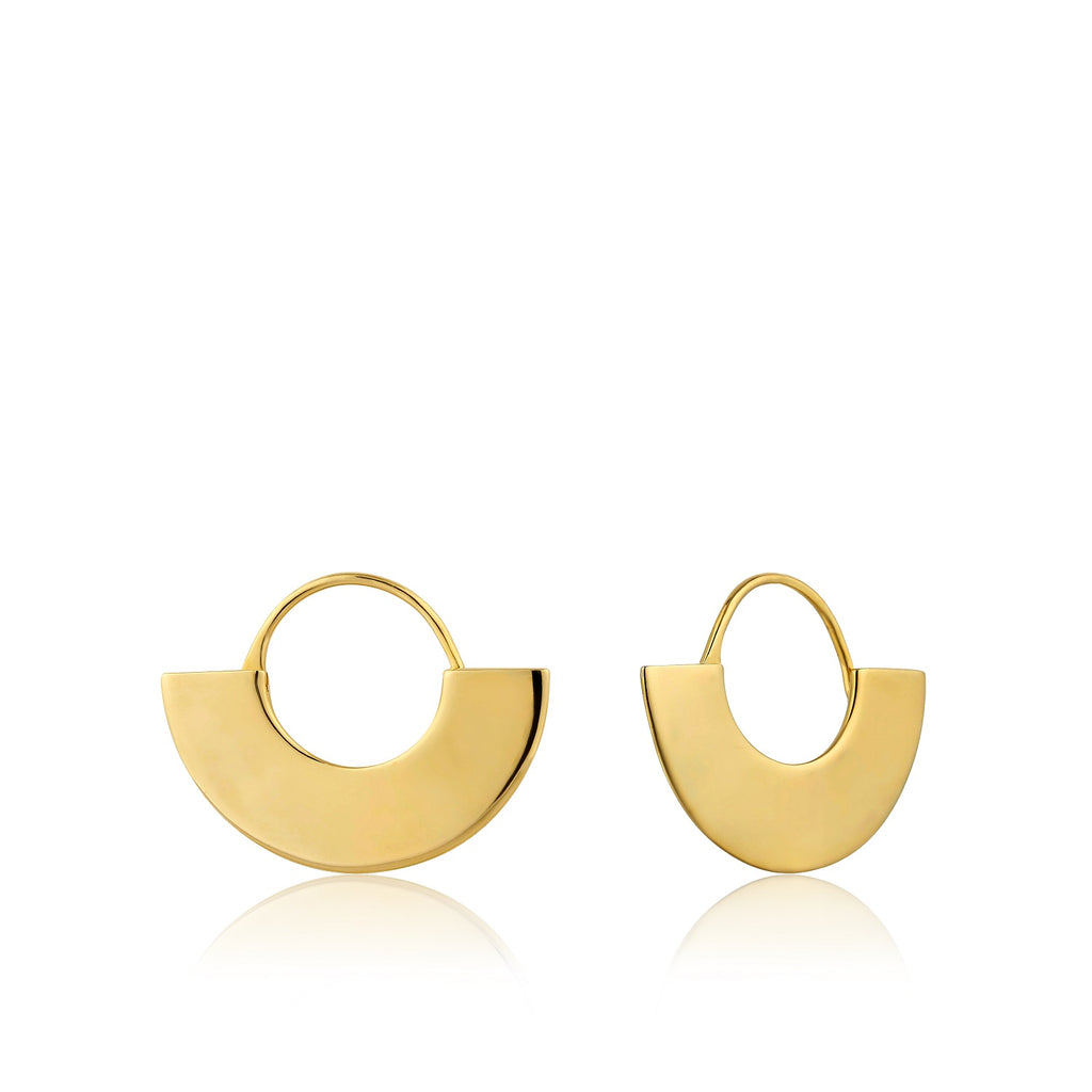 Ania Haie Geometry Fan Hoop Earrings Gold Plated
