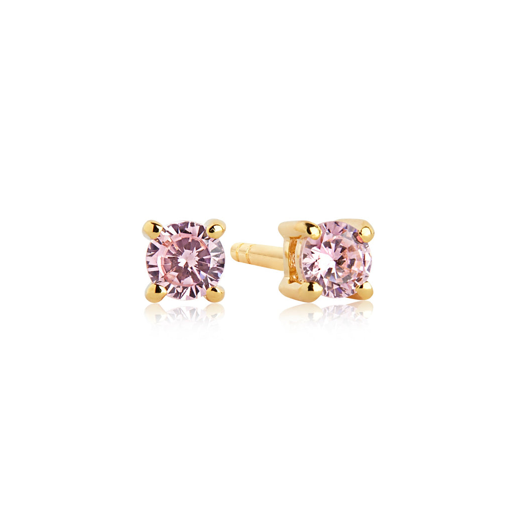 Sif Jakobs Silver Gold Plated with Pink CZ Princess Piccolo Round Earrings