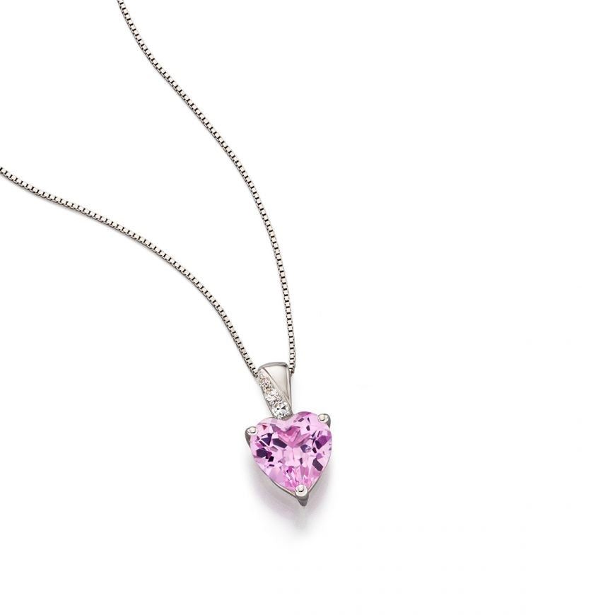 Gecko Necklace white gold and pink sapphire Heart