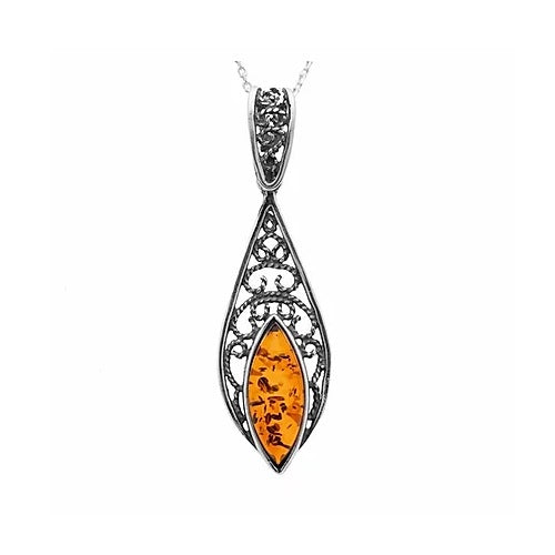 MILENA necklace Silver and Amber Vintage
