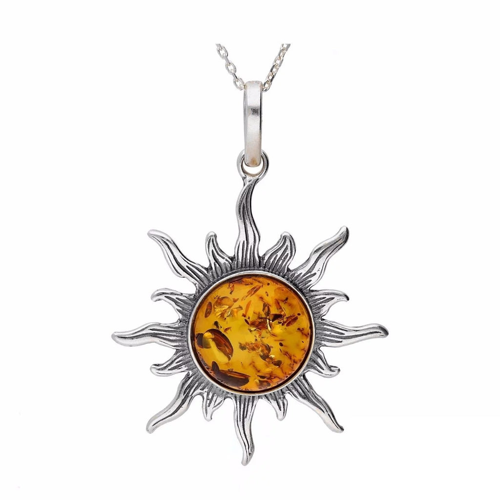 MILENA necklace Silver and Amber Sun