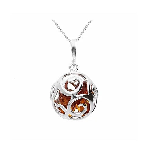 MILENA necklace Silver and Amber Swirl