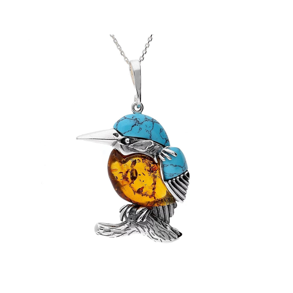 MILENA necklace Silver Amber and Turquoise Small Kingfisher