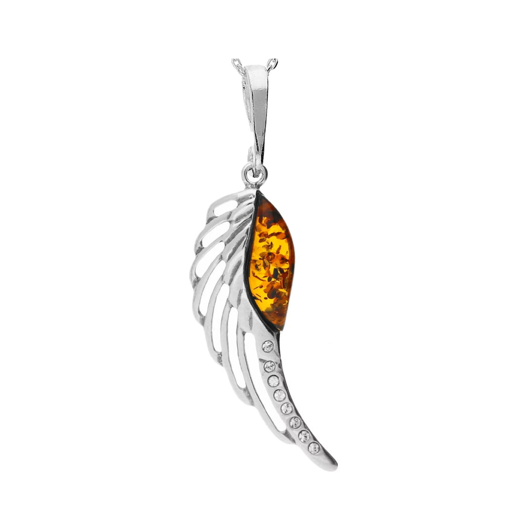 MILENA necklace Silver and Amber Angel Wing