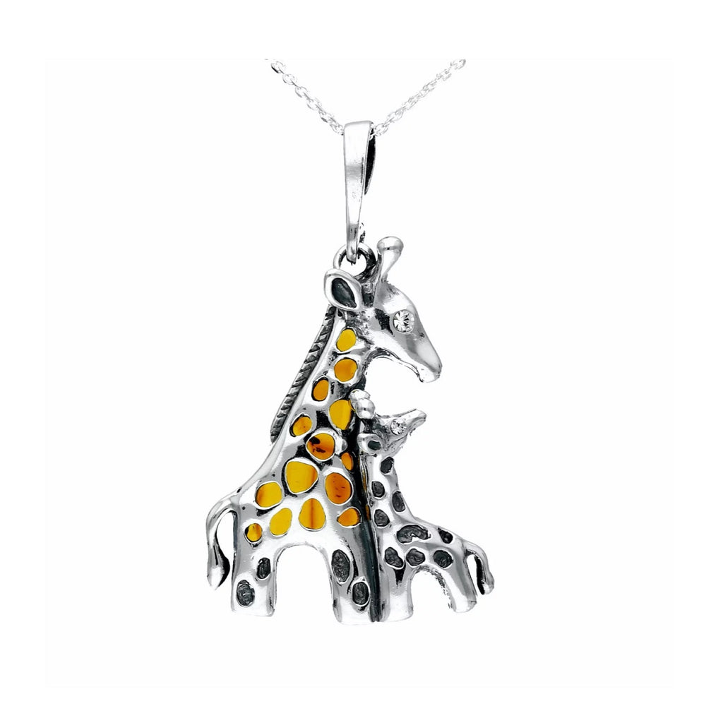MILENA necklace Silver and Amber Giraffe