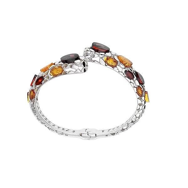 MILENA bangle Silver and Amber multicolored Snake
