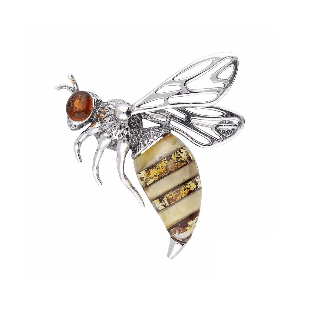 MILENA Brooch Silver and Amber Bee